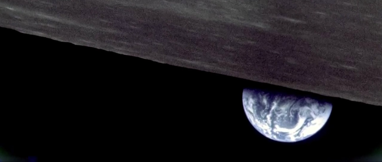 An image of the Earth from behing the Moon, taken by the Apollo 8 crew in 1968